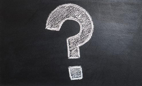 A chalk question mark