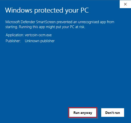Windows Defender Warning for Vertcoin's One-Click Miner