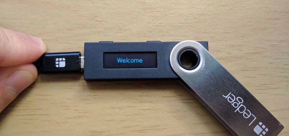 Welcome screen on the Ledger Nano S