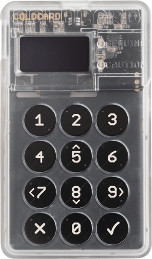 Front of the Coldcard hardware wallet