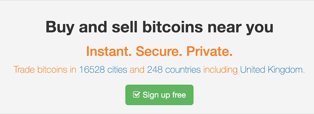 Localbitcoins homepage header