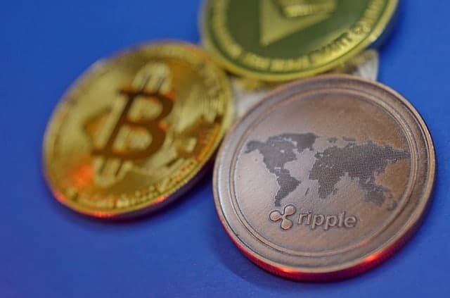 Bitcoin, Ethereum, and Ripple physical coins